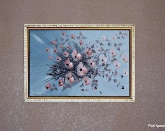1 Dollar Shipping! Textured original floral painting 1979!