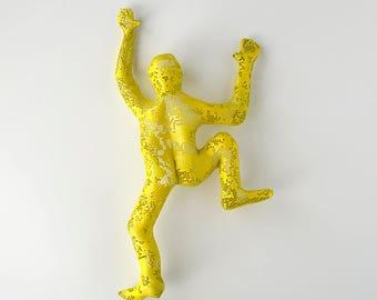 3d wall art, Climbing man sculpture, home decor, metal wall art, metal sculpture, rock climbing- Yellow