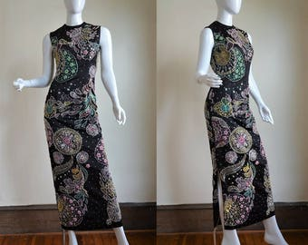 Early 1960s Spectacular Sparkling Fully Embellished Black Silk Satin Hourglass Gown With Side Slit