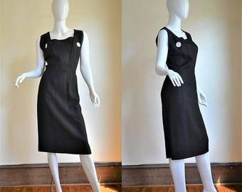 ON SALE 1950s Trigere New York Minimalist Perfection Linen Little Black Hourglass Dress
