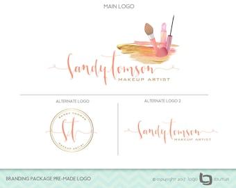 Makeup Logo Design, Branding Package Premade Logo, Set of 3 Logos,  Makeup Artist Logo,  Lipstick Logo, Beauty Salon Logo, Makeup Branding