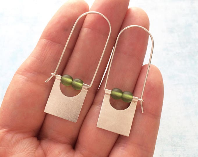Sterling silver hook earrings - tribal earrings - geometric earrings - dangle and drop square earrings