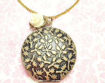 Maple round locket necklace- round brass locket- keepsake necklace- flower and locket necklace