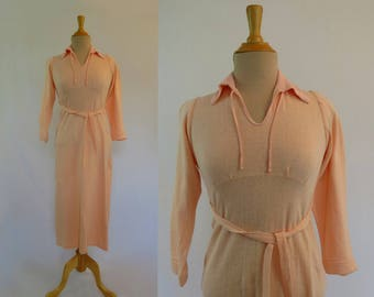 Vintage Nightgown - 1930s, 1940s Vintage - Fleecy Lined Peach Nightgown - Bust 81 cm