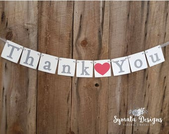 Thank you heart banner - photo prop - wedding decoration- Primary Red heart- grey lettering - lower case letters - romantic - IATY139