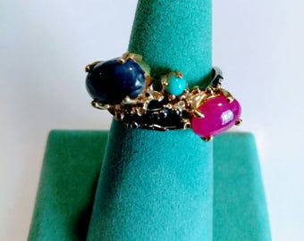 Ruby & Sapphire Sterling Silver Ring
