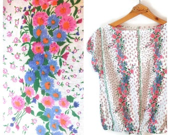 Vintage floral flowers flowered top shirt size Medium Saks Fifth Avenue Fashions by Gregory