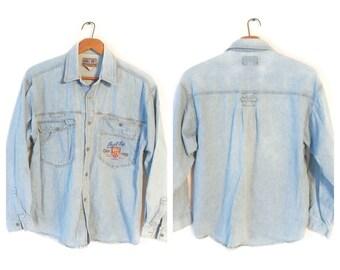 Bugle Boy Jean Chambray shirt size Medium vintage denim