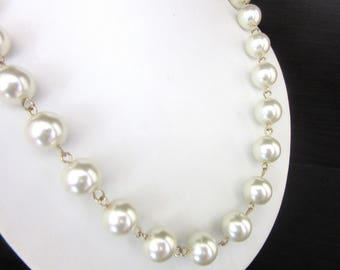 Large Glass Pearl Necklace Pure White & Gold Tone Metal Strung 22 - 25 Inches