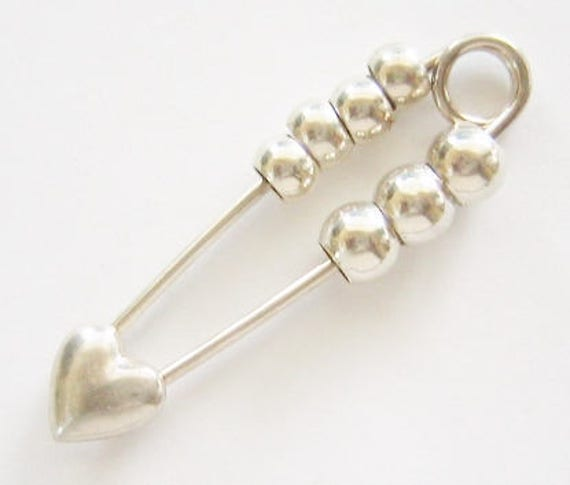 Vintage...Sterling Silver, Hearts & Beads Safety Pin, Baby Pin, Diaper Pin. Nice Gift Idea !