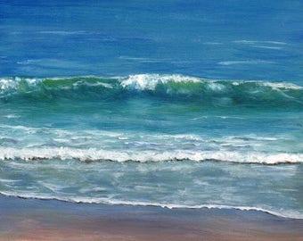 SALE Sea Beach Ocean Waves Burleigh Beach Australian seascape SFA Original acrylic seascape painting by Australian Artist Janet M Graham
