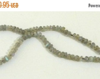 """Summer Sale Labradorite Machine Cut Rondell Beads - 4 to 5mm - 9"""" Strand Made by Earth Bazaar, Iridescent Shades of Green Blue on Gray"""