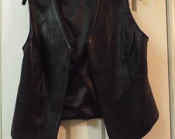 Vintage Black Leather Biker Vest Made in USA