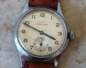 Elgin Sportsman, Master Time, Silver Dial, Silvery Bezel, Stainless Steel Back, Mid Century Modern, Fine Vintage Mens Watch