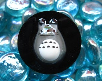 "Large ring fancy ""Totoro"" on black resin"