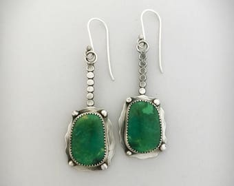 Genuine Turquoise Jewelry, Green Drop Earrings, Sterling Handmade Jewelry, Contemporary Style,  Anniversary Gift Ideas.