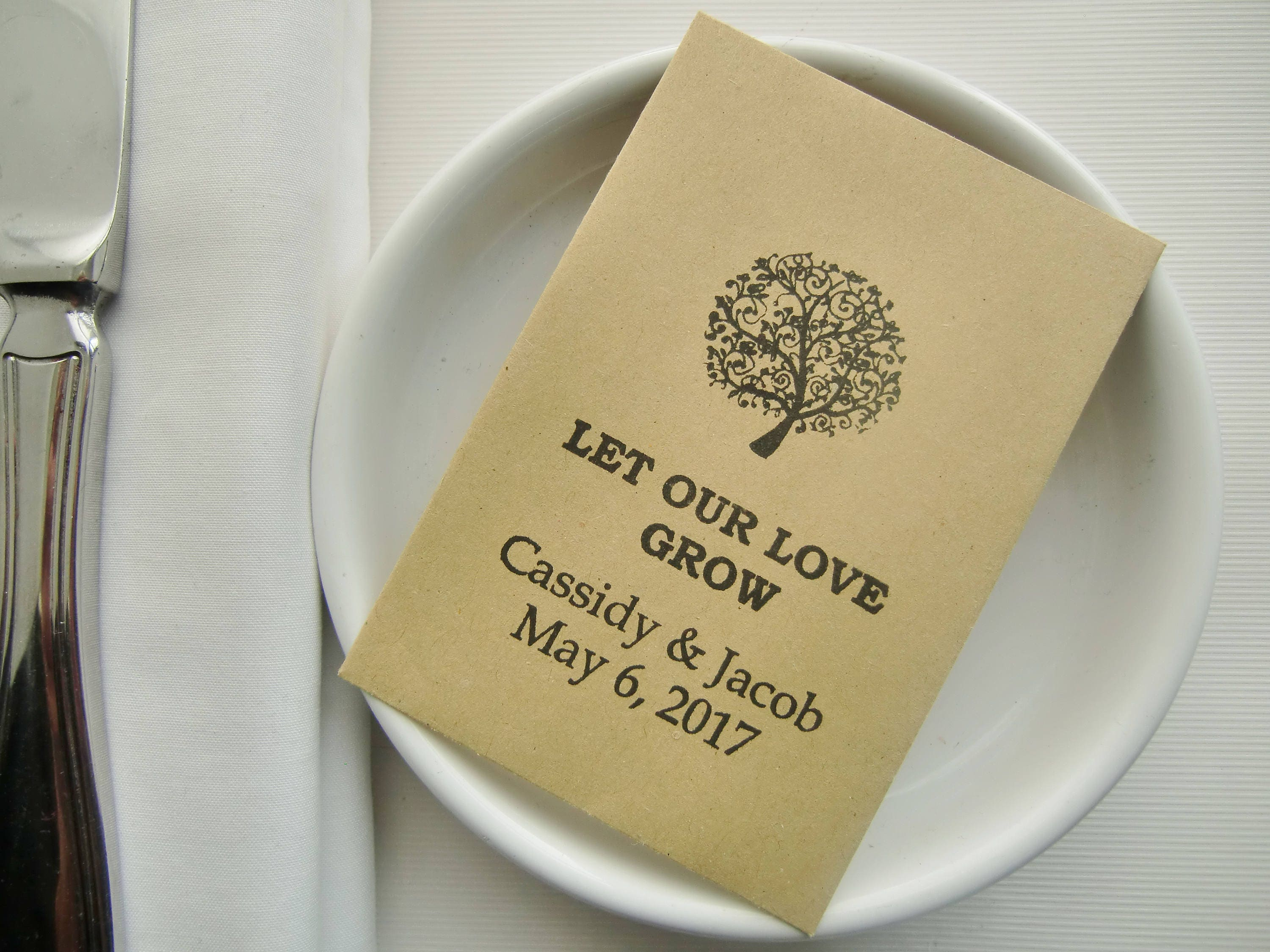 rustic chic wedding seed packets wedding favors let our love