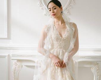 Lace Bridal Veil, Wedding Veil, Cathedral Veil, Silver Crystals, Sequin Veil, Mantilla Veil, Alencon Lace Veil, Single Layer Veil, #3015