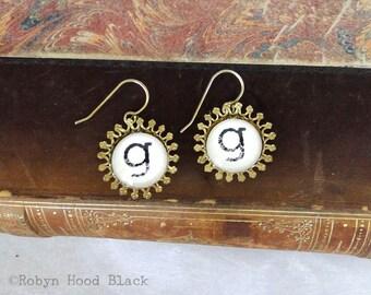 Letter G Earrings Hand Stamped Vintage Letterpress in Groovy Brass Settings