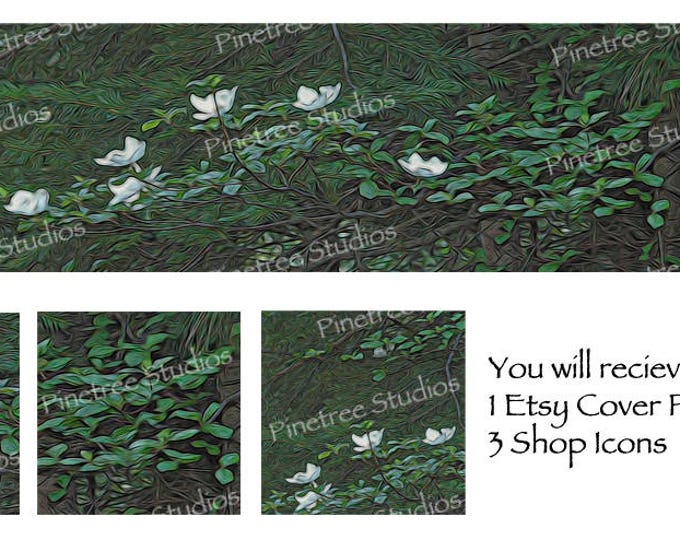 Etsy Cover Photo Banner (for Pattern Website too) and 3 Shop Icons ~ Dogwood in Bloom
