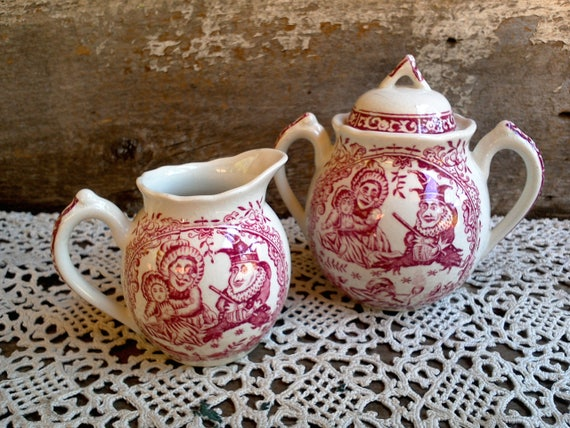 Antique Childs Transferware Set, Creamer and Sugar Bowl, c. 1890's Punch and Judy, Charles Allerton, England, Childs Toy China, Red