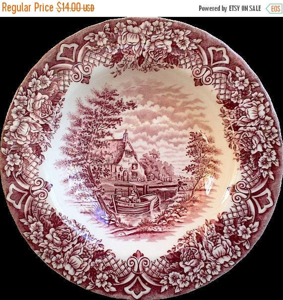 50% off Red China Bowl, Red and White Dishes, Old Dishes, Transferware, Grindley of Staffordshire, English China