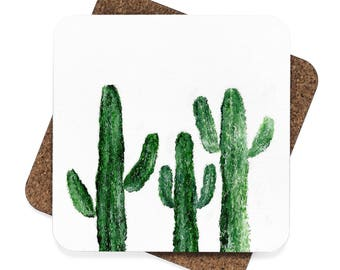 Cactus Coasters, set of 4, set of coasters, green coasters, white coasters, plant coasters, cactus coaster, plant lover gift, cactus gift