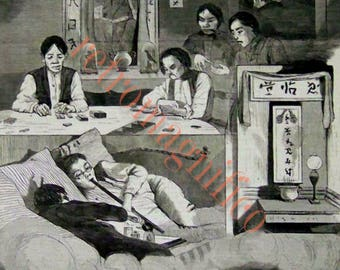 1874 Chinese Opium Den in New York vintage image digital download for art print, scrapbooking, mixed media, altered art,