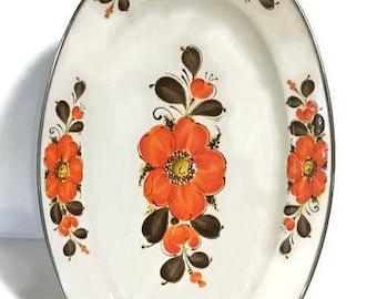 "Enamel ware platter, orange poppy flower platter, made in Japan, Show Pan Sanko Ware, oval serving platter, vintage platter by Sanko, 18"""