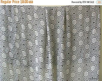Flat 40% Off Geometric Print Black and Creamy White Georgette Fabric for Scarves /  Dress etc..