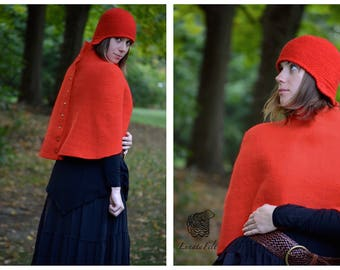 Aurora Red - warm and comfy cape and knitted hat from fine merino wool and yarn  - trend fall 2016 - OOAK, boho/ethno - to order only!