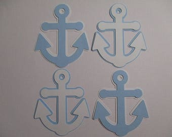6 Anchor (3 size options) Theme Decorations, Diecut Cutouts, for Diaper Cake, Centerpiece, Birthday Party, Baby Shower, Blue White