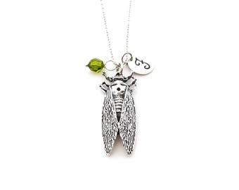 Cicada Insect Charm - Initial Necklace - Personalized Necklace - Sterling Silver Jewelry - Gift for Her