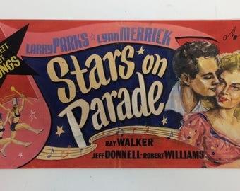 Vintage 1950's Movie Lobby Card Original Pulp Art...Stars on Parade