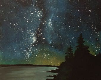 Galaxy Over Lake Painting