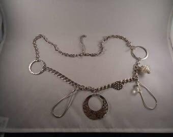 Unique metal charm silver chain necklace