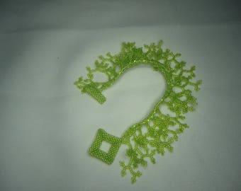 Lime green coral beaded bracelet