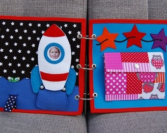2 Quiet book pages - Rocket and stars PATTERN & TUTORIAL