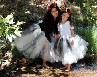 Halloween mother daughter matching tutu set,Dia de los Muertos, mom and daughter witch ghost costumes day of the dead tutu mom and me