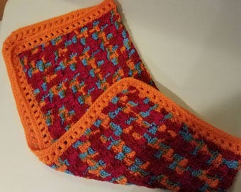 Red, Orange, Blue Brightly Colored Baby Blanket