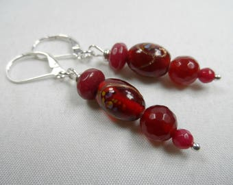 """Sterling Silver Leverback Beaded Earrings in Cranberry - 2"""" length"""