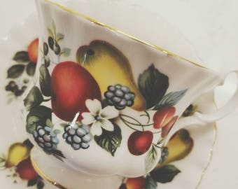 Vintage Tea Cup and Saucer /ROYAL ALBERT Bone China  Vintage Tea Party / Collectable teacup/ Fruit Theme