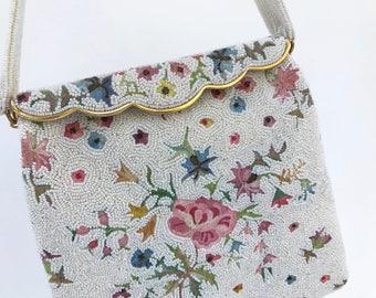 Vintage Ivory Pearl Floral Micro Beaded Beaded Bag, Josef France, Point de Beauvais, Bridal Purse, Vintage Beaded Evening Bag