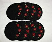 CUSTOM ORDER for HOLLY~Black wool felted coasters with a red floral needle felted design