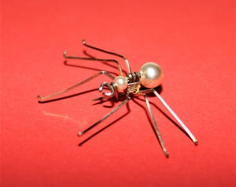 Rare Edwardian gold fill and faux Pearl Spider Brooch