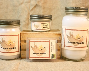 French Vanilla Scented Candle, French Vanilla Scented Wax Tarts, 26 oz, 12 oz, 4 oz Jar Candles or 3.5 Clam Shell Wax Melts