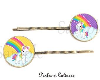 Hair clips x 2 - pink yellow Unicorn Rainbow cabochon