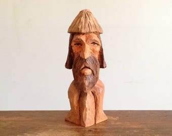 "Original hand carved 6.5"" gnome elf wood spirit woodspirit wooden sculpture true carving woodland folk art rustic home decor collectible"