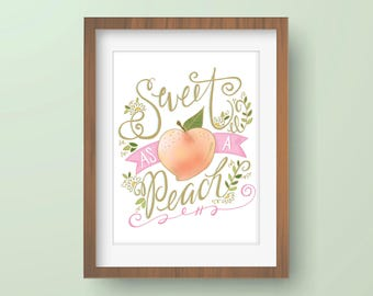 Sweet As a Peach Illustrated Print