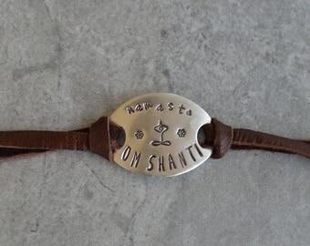 om shanti sterling silver leather bracelet